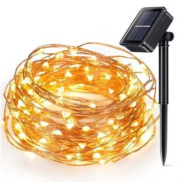 luz da corda de fio de cobre da energia solar